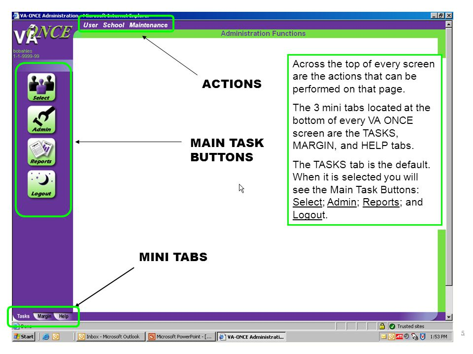 ACTIONS MAIN TASK BUTTONS MINI TABS