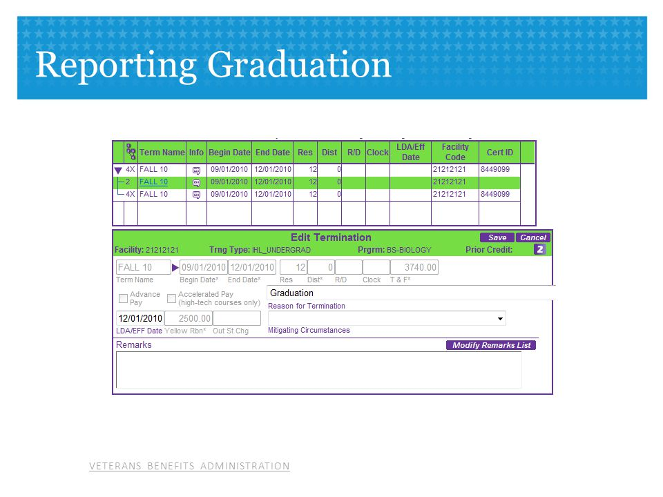 Reporting Graduation