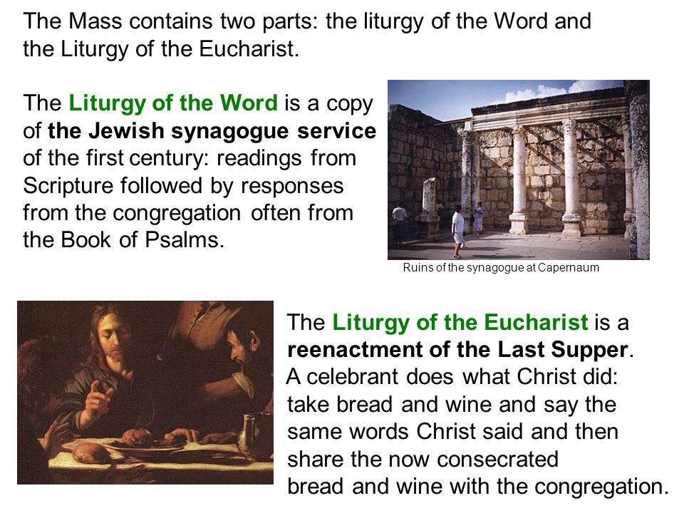 The Mass contains two parts: the liturgy of the Word and