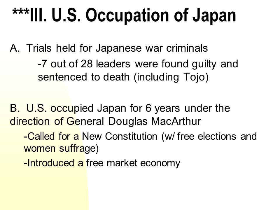 ***III. U.S. Occupation of Japan