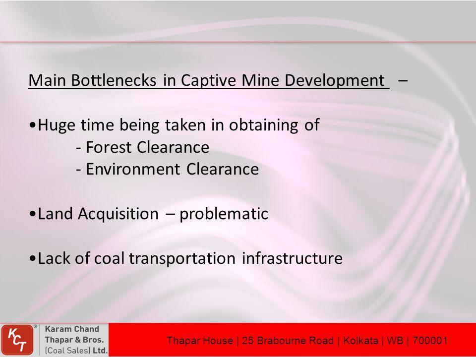 Main Bottlenecks in Captive Mine Development –