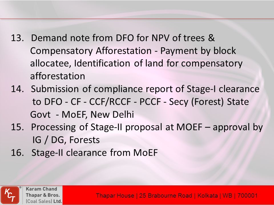 Demand note from DFO for NPV of trees &