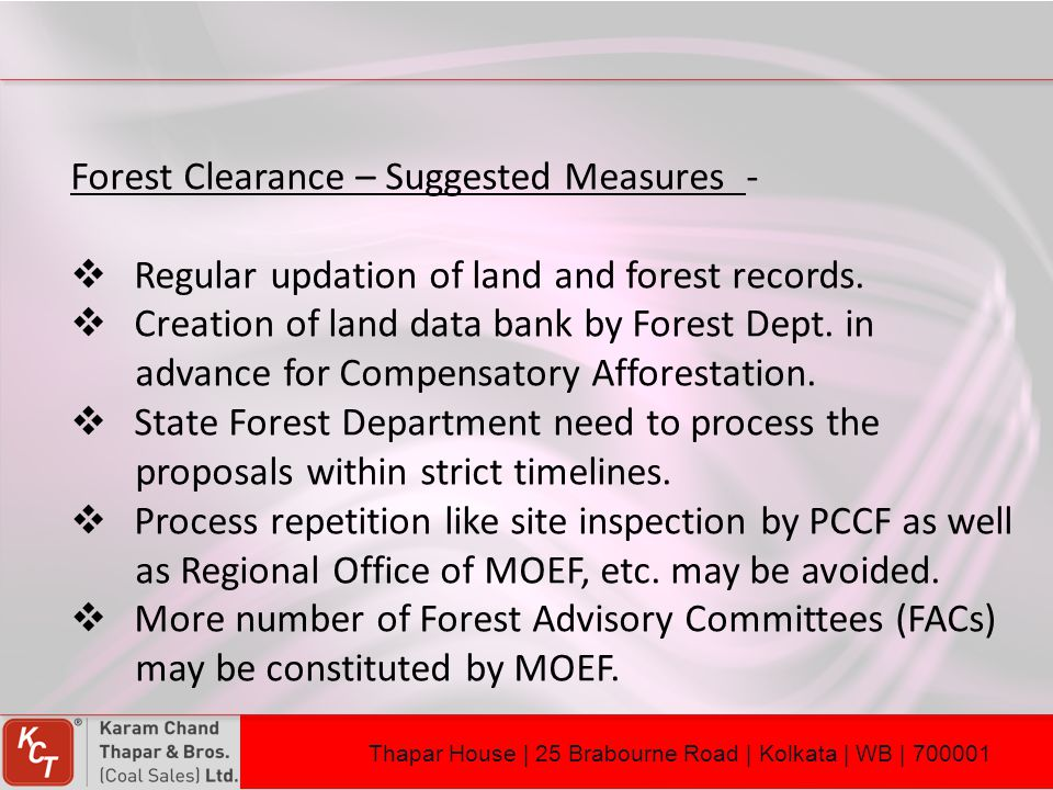 Forest Clearance – Suggested Measures -