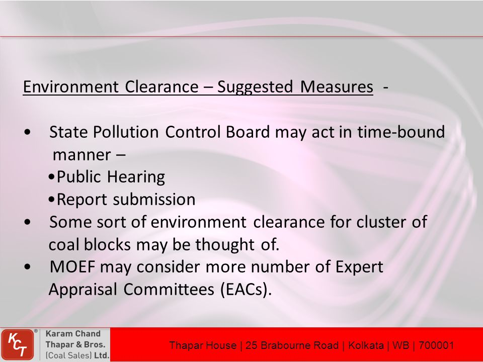 Environment Clearance – Suggested Measures -