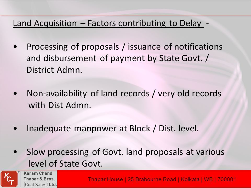 Land Acquisition – Factors contributing to Delay -
