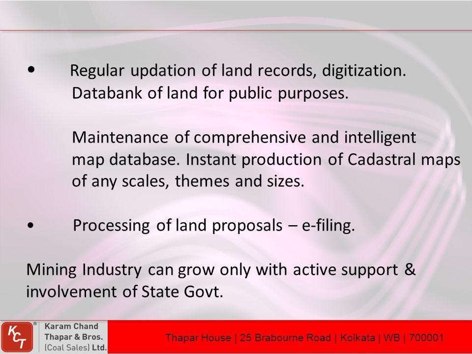 Regular updation of land records, digitization.