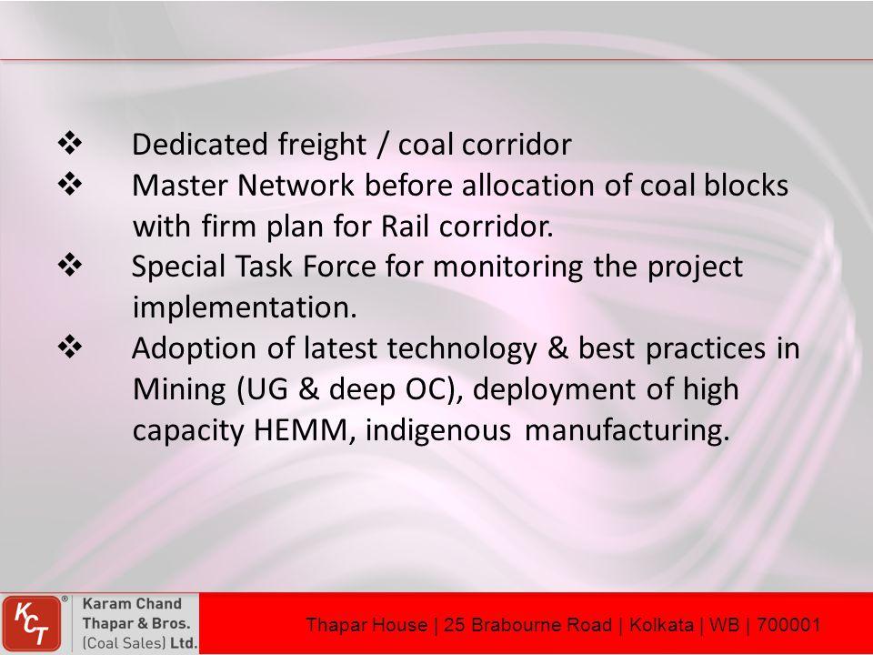 Dedicated freight / coal corridor
