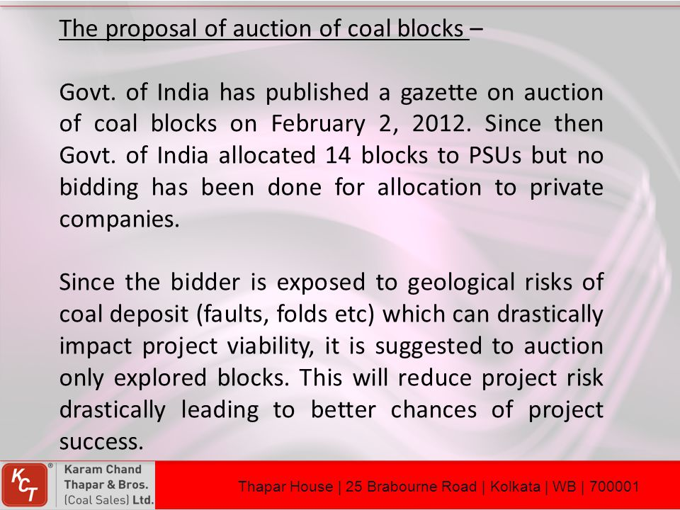 The proposal of auction of coal blocks –