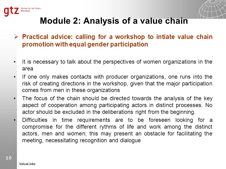 Module 2: Analysis of a value chain