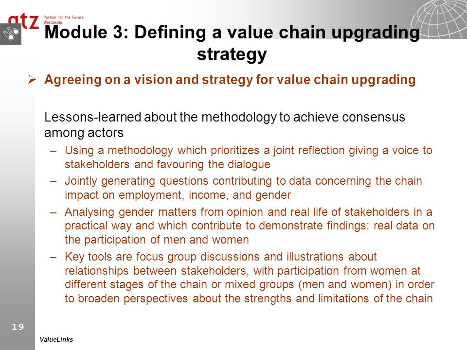Module 3: Defining a value chain upgrading strategy