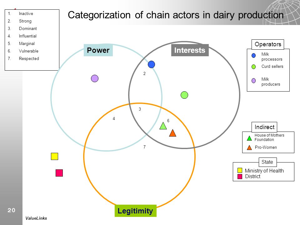 Categorization of chain actors in dairy production