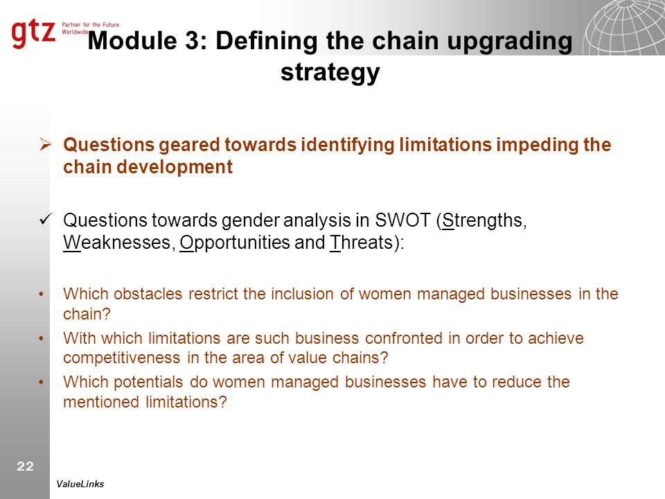 Module 3: Defining the chain upgrading strategy