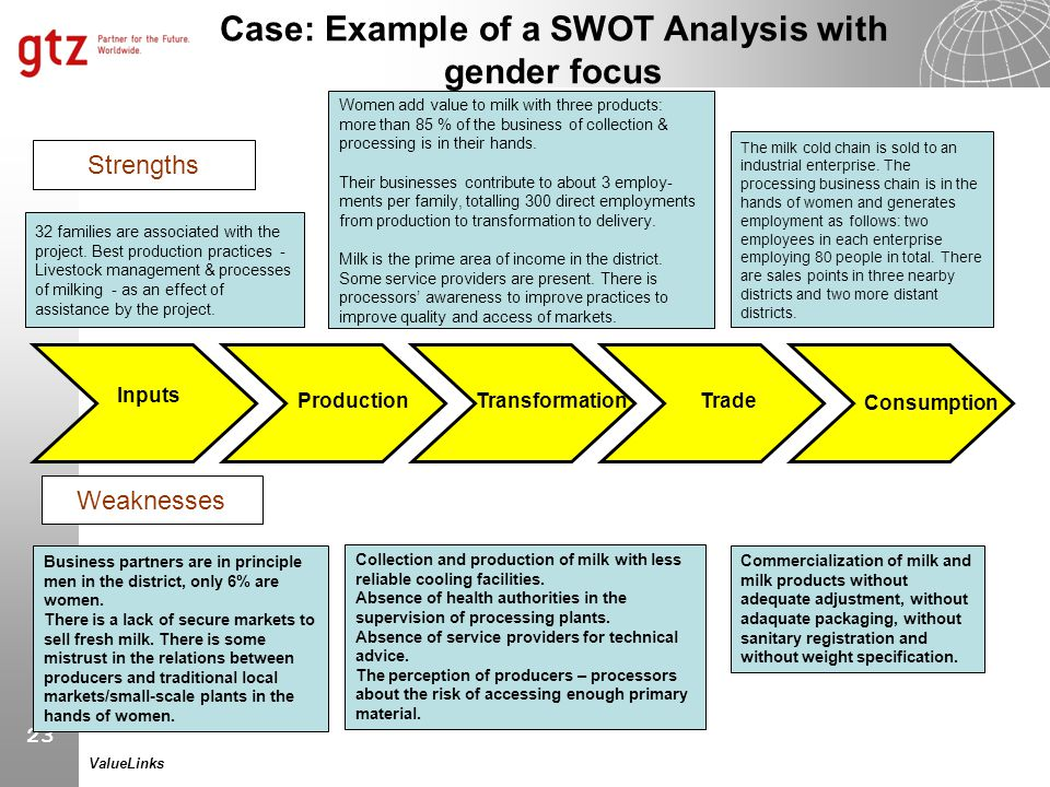 Case: Example of a SWOT Analysis with gender focus