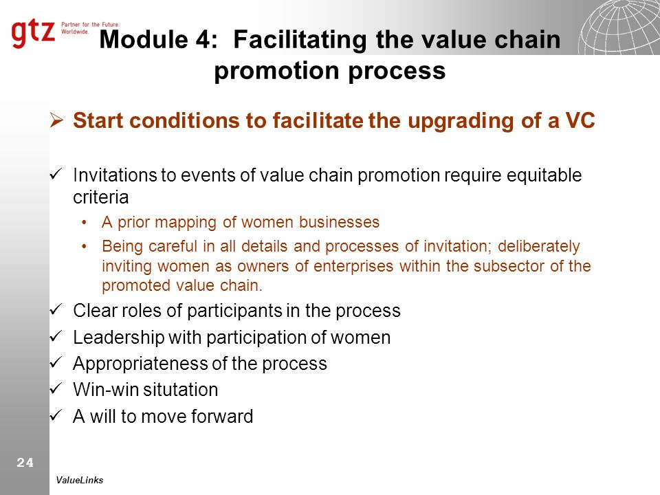 Module 4: Facilitating the value chain promotion process