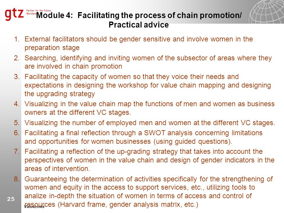 Module 4: Facilitating the process of chain promotion/ Practical advice