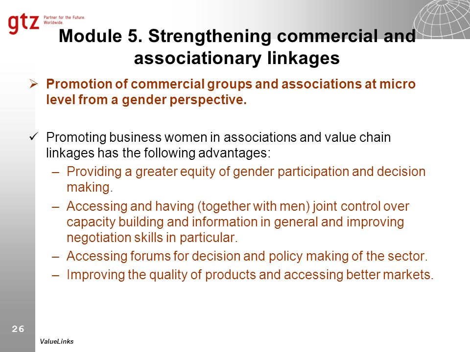 Module 5. Strengthening commercial and associationary linkages