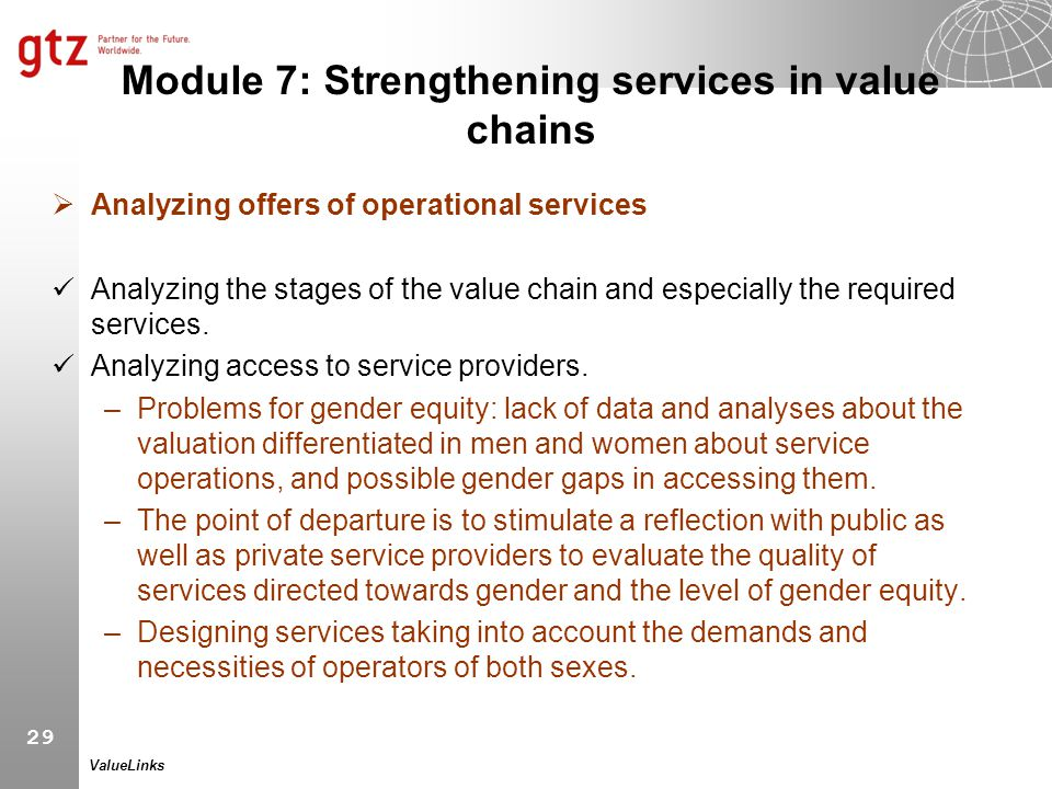 Module 7: Strengthening services in value chains