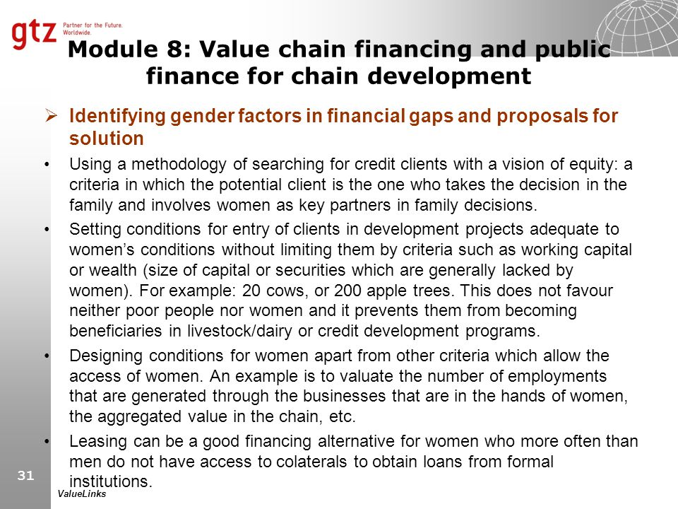 Module 8: Value chain financing and public finance for chain development