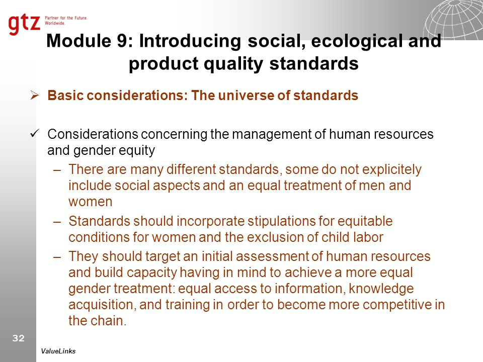 Module 9: Introducing social, ecological and product quality standards