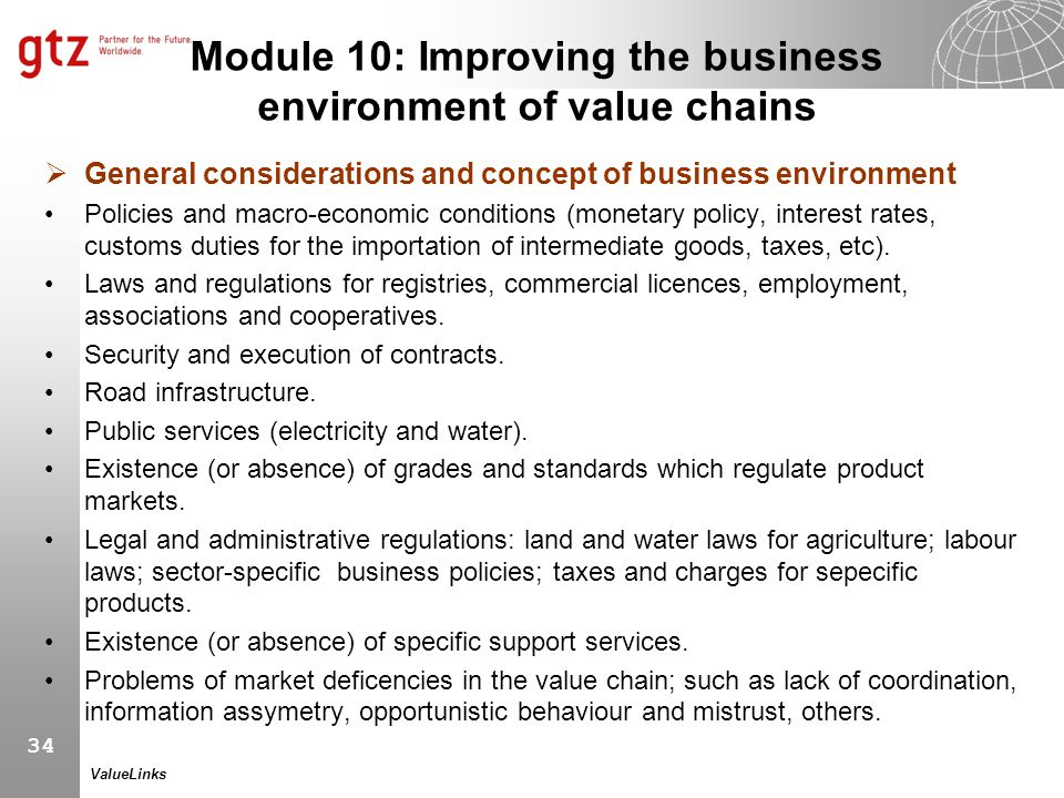 Module 10: Improving the business environment of value chains