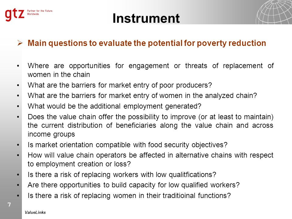 Instrument Main questions to evaluate the potential for poverty reduction.