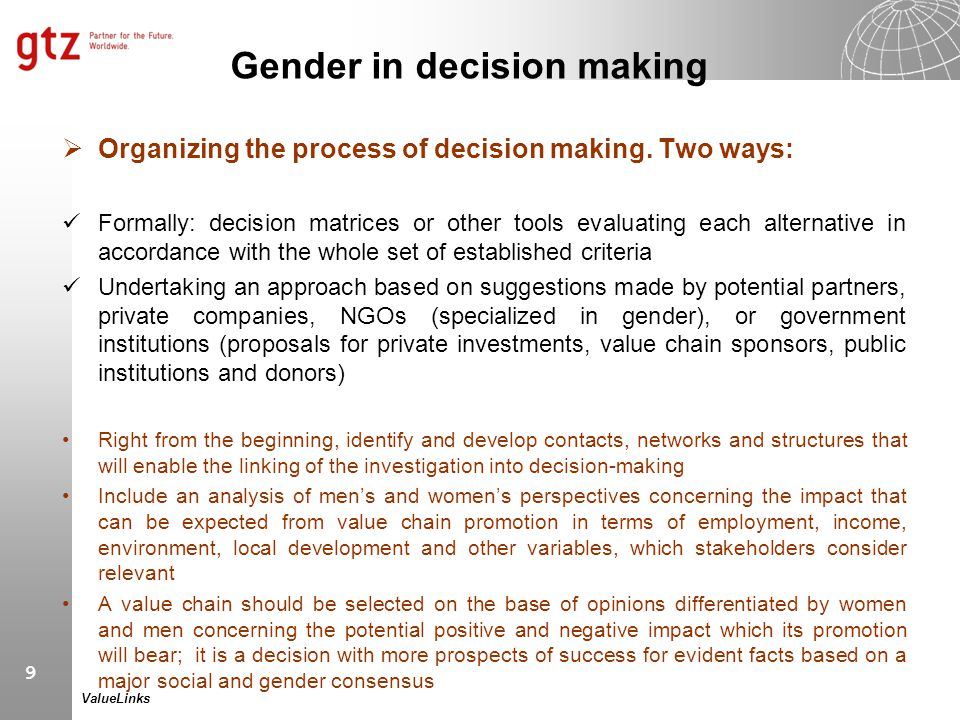 Gender in decision making