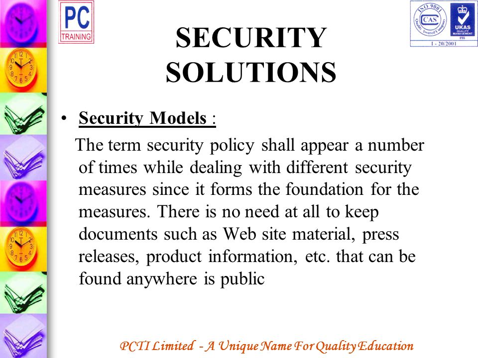 SECURITY SOLUTIONS Security Models :