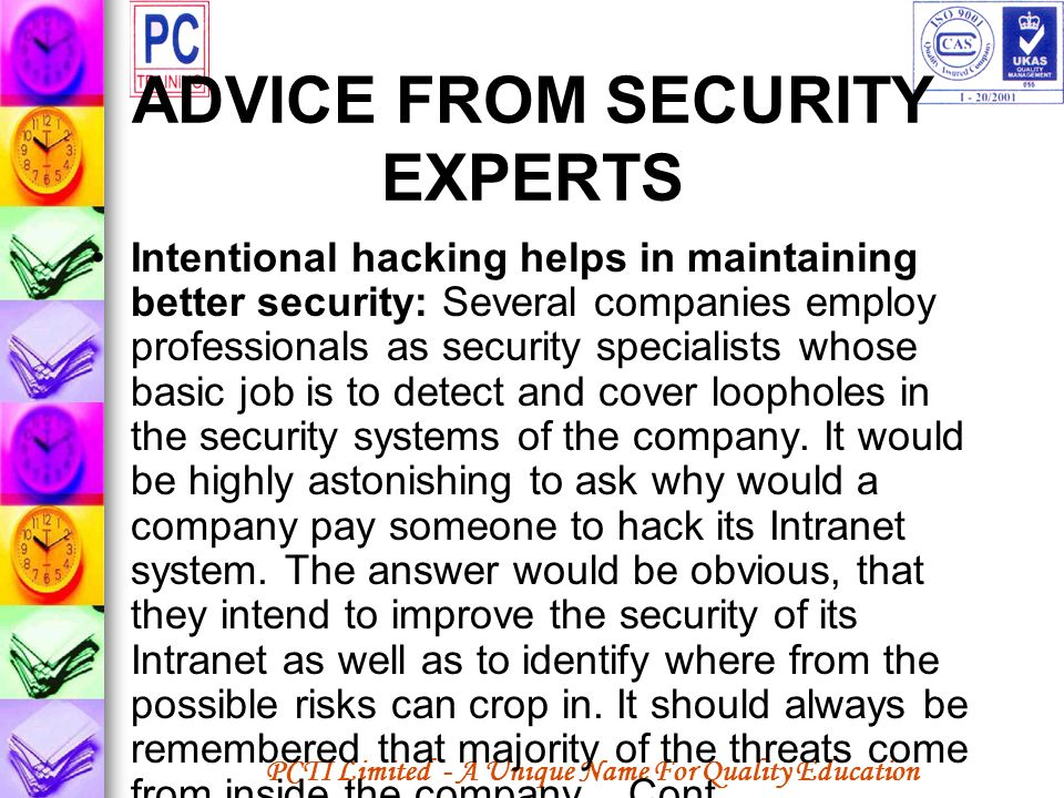 ADVICE FROM SECURITY EXPERTS