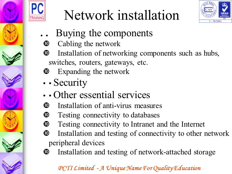 Network installation . . Buying the components Cabling the network