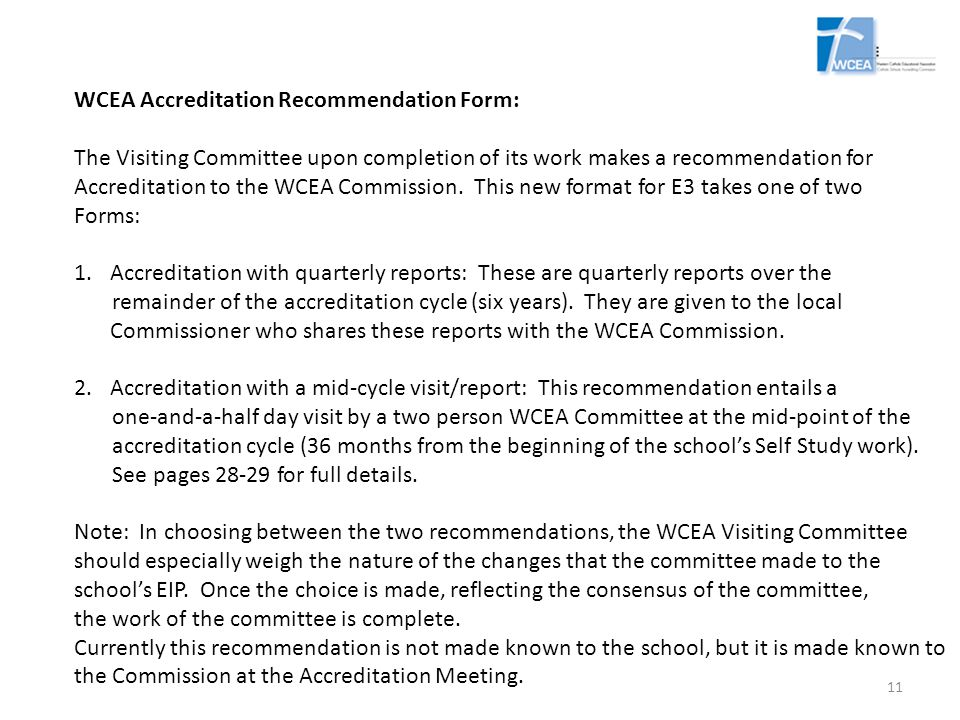 WCEA Accreditation Recommendation Form: