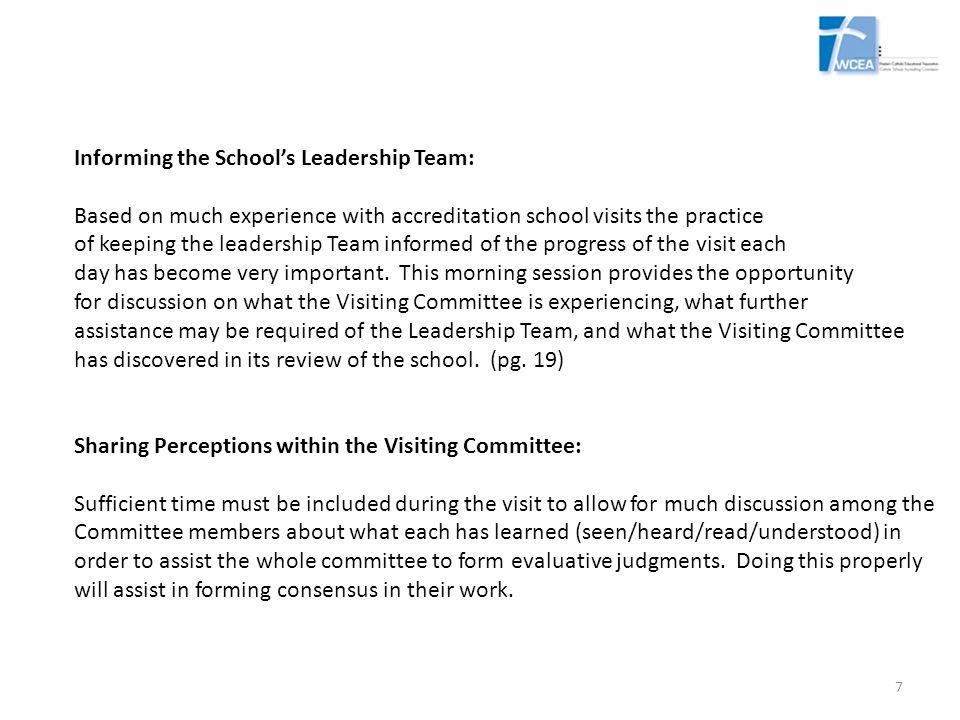 Informing the School's Leadership Team: