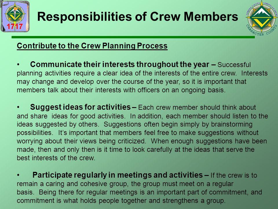 Responsibilities of Crew Members