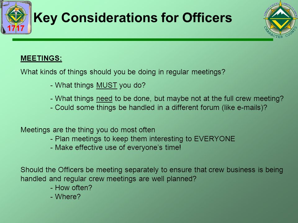 Key Considerations for Officers