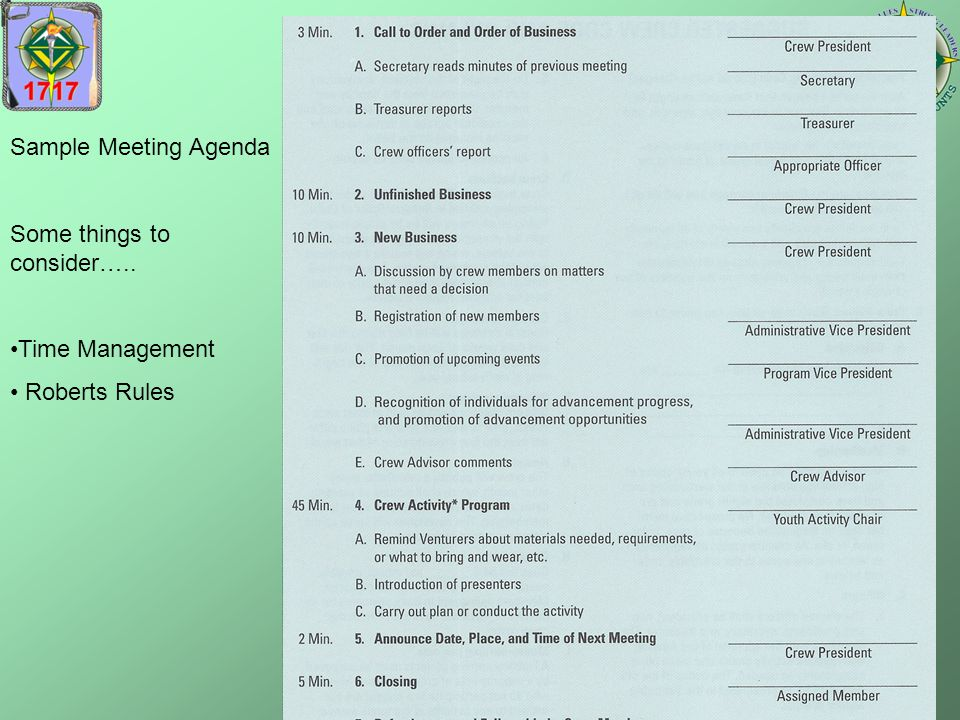 Sample Meeting Agenda Some things to consider….. Time Management Roberts Rules