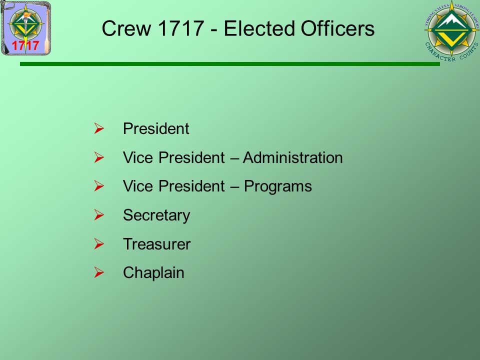 Crew 1717 - Elected Officers
