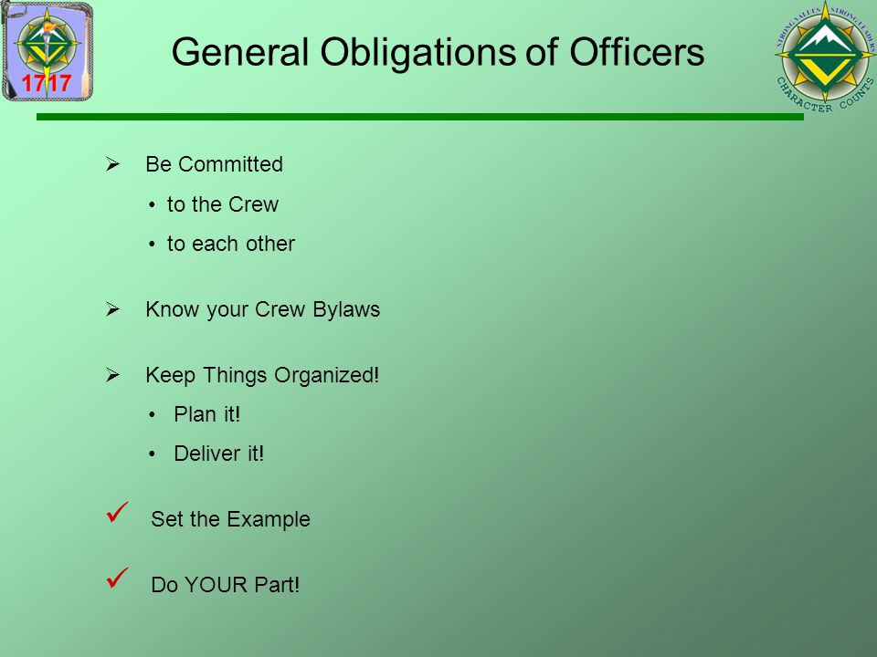General Obligations of Officers