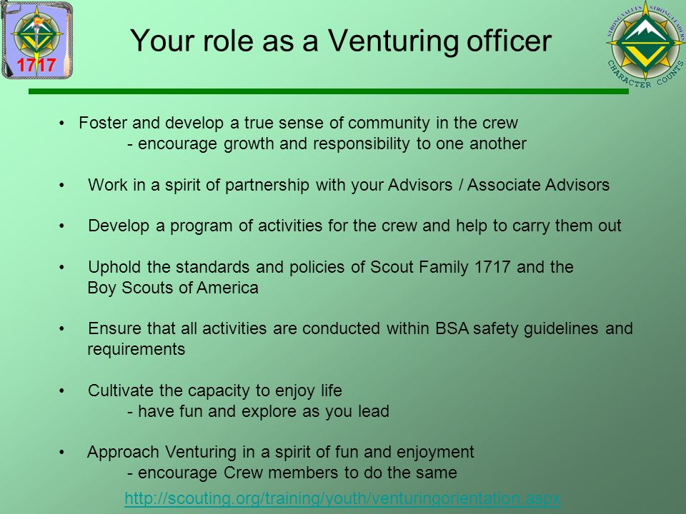 Your role as a Venturing officer