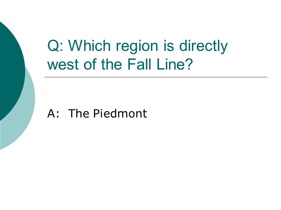 Q: Which region is directly west of the Fall Line