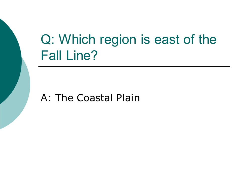 Q: Which region is east of the Fall Line