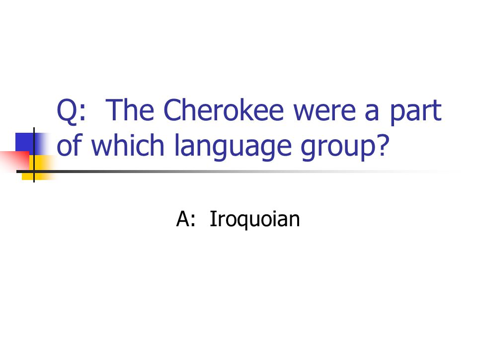 Q: The Cherokee were a part of which language group