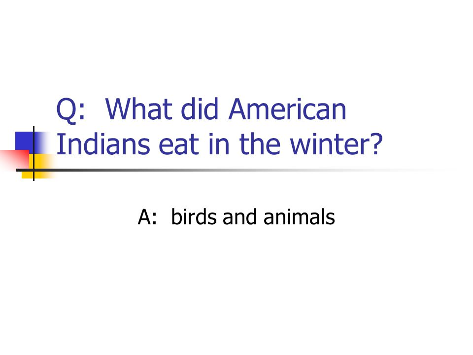 Q: What did American Indians eat in the winter