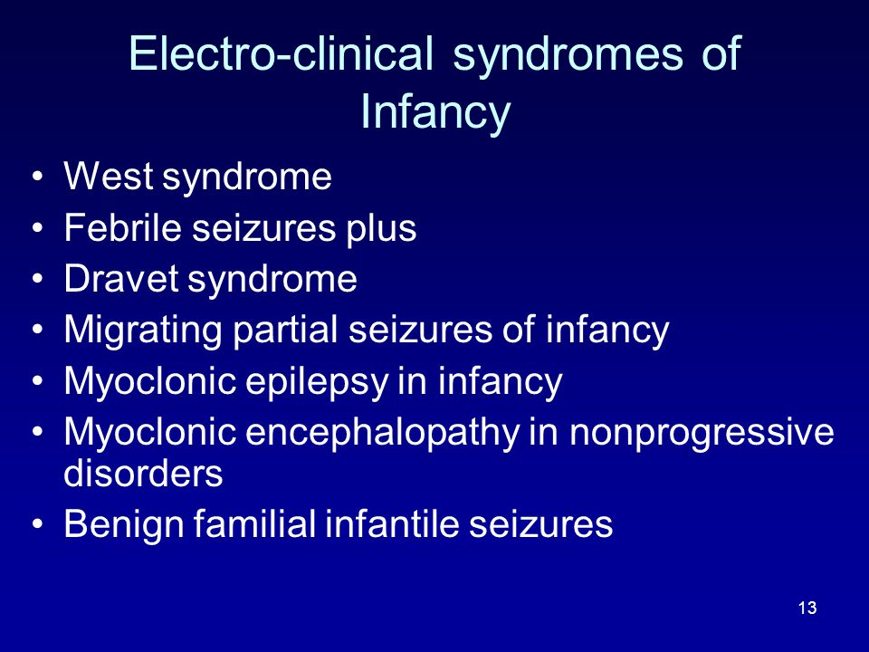 Electro-clinical syndromes of Infancy