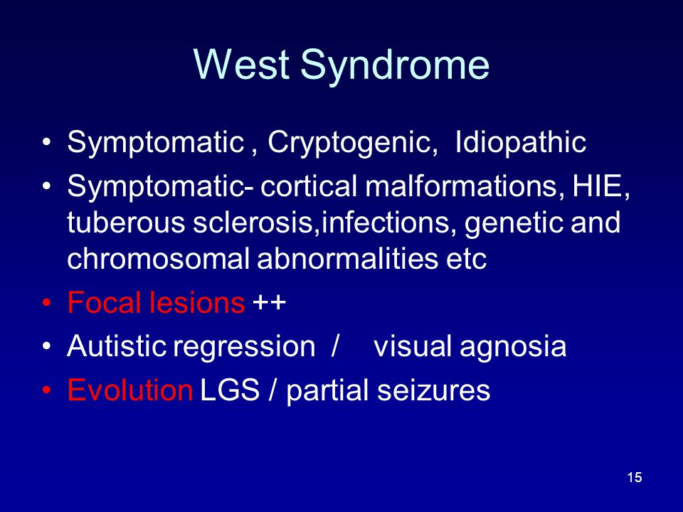 West Syndrome Symptomatic , Cryptogenic, Idiopathic