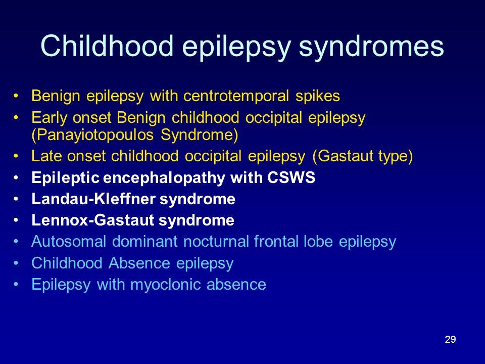 Childhood epilepsy syndromes