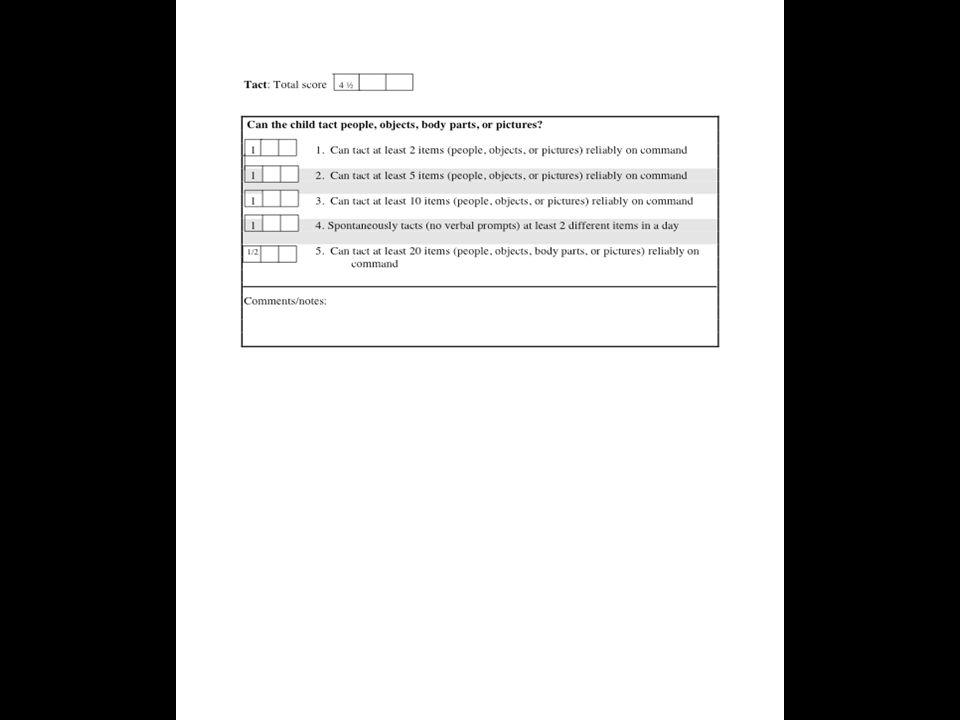 VB-MAPP Level 1: Tact