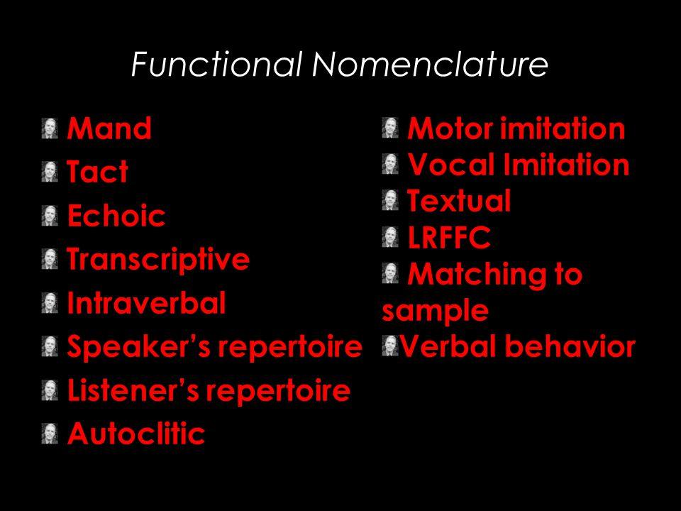 Functional Nomenclature