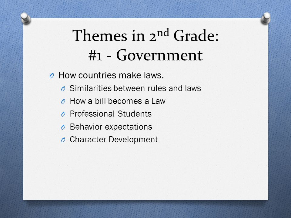Themes in 2nd Grade: #1 - Government