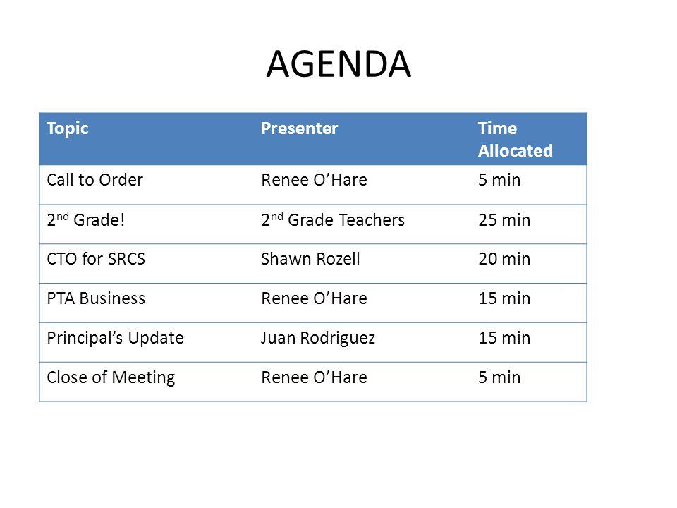 AGENDA Topic Presenter Time Allocated Call to Order Renee O'Hare 5 min