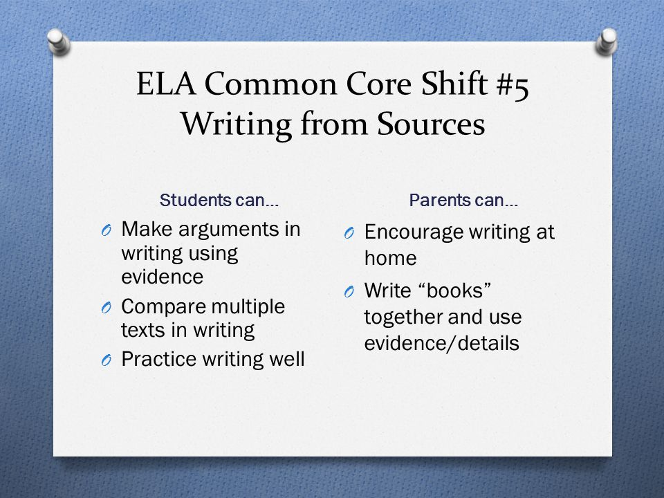 ELA Common Core Shift #5 Writing from Sources
