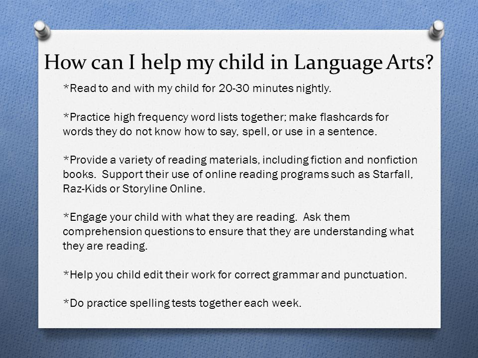 How can I help my child in Language Arts
